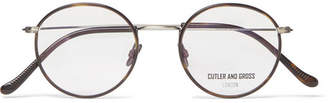 Cutler and Gross Round-Frame Brushed Gunmetal-Tone And Tortoiseshell Acetate Optical Glasses