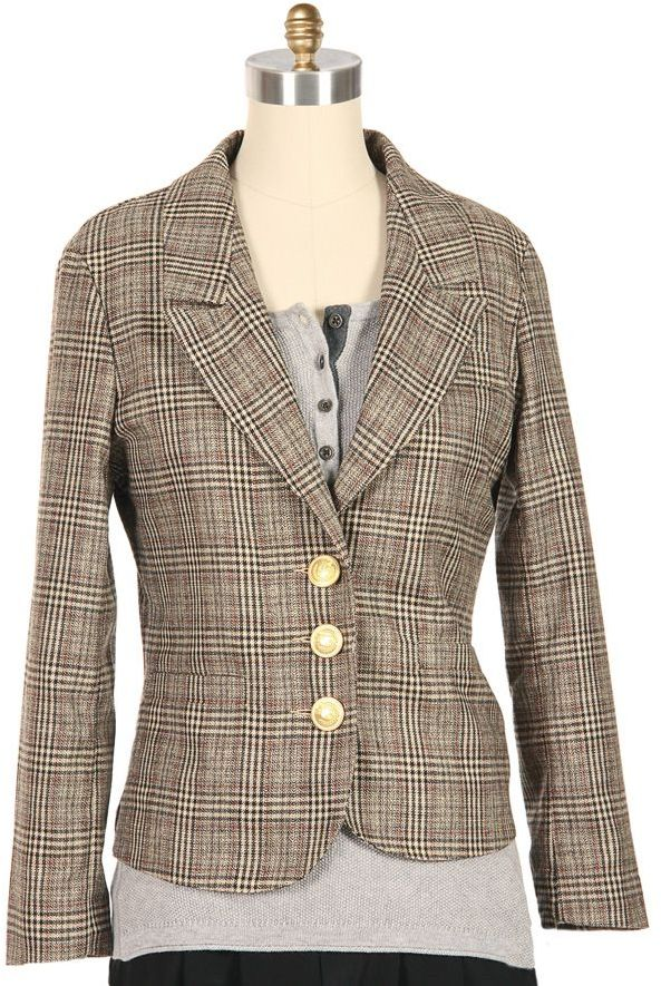EIGHT SIXTY Shrunken Plaid Blazer