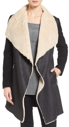 Women's Calvin Klein Mixed Media Coat With Faux Shearling Front $210 thestylecure.com