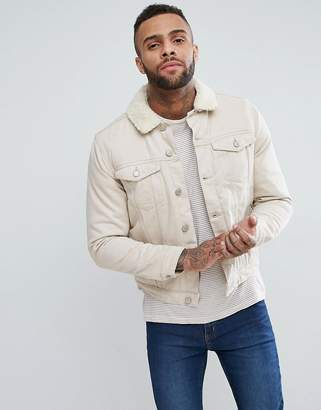 New Look Fleece Lined Denim Jacket In Off White