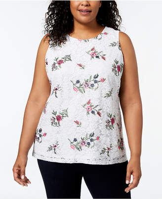 Charter Club Plus Size Embroidered Lace Top, Created for Macy's