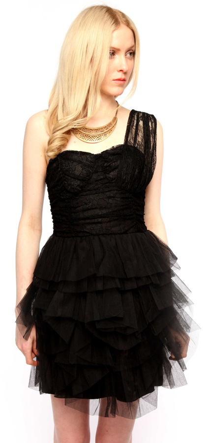 Black Tulle and Lace Cocktail Dress