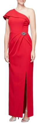 Alex Evenings One-Shoulder Column Gown