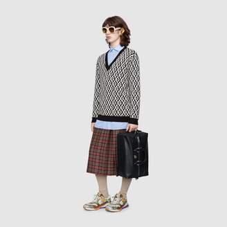 Gucci G rhombus wool V-neck jumper