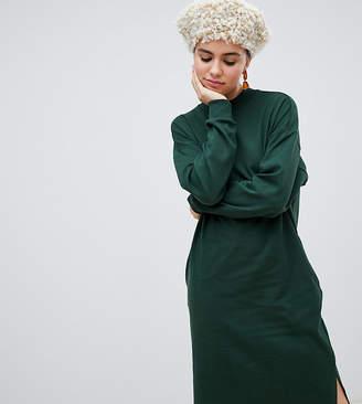 Monki jersey midi dress in dark green