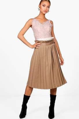 boohoo Lucia Contrast Woven Pleated Wrap Midi Skirt
