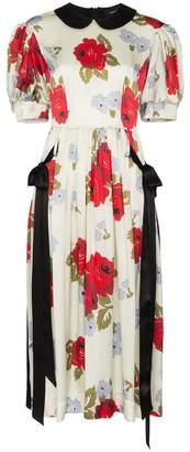 Simone Rocha contrast floral print silk dress