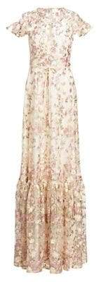 ML Monique Lhuillier Women's Embroidered Floral Overlay Gown - Navy White - Size 0