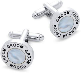 Mother of Pearl Sutton by Rhona Sutton Men Silver-Tone Mother-of-Pearl Groom Cufflinks
