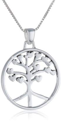 """Sterling """"Roots Of Peace Run Deep"""" Circle Tree Pendant Necklace"""