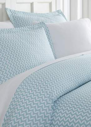 IENJOY HOME Home Spun Premium Ultra Soft 3-Piece Puffed Chevron Print Duvet Cover Queen Set - Light Blue