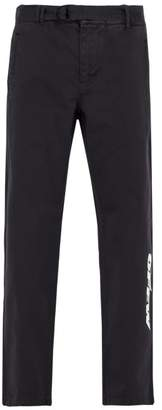 Off-white - Logo Print Cotton Chino Trousers - Mens - Black