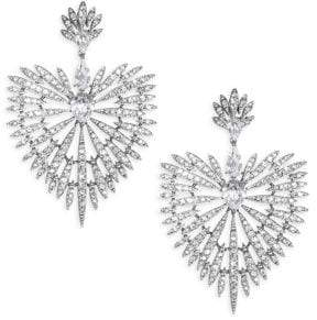 Adriana Orsini Crystal Burst& Rhodium-Plated Drop Earrings