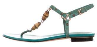 Gucci Bamboo-Accented Thong Sandals Green Bamboo-Accented Thong Sandals