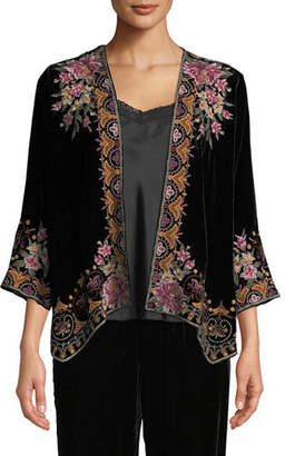 Johnny Was Joanna Embroidered Velvet Bolero Jacket