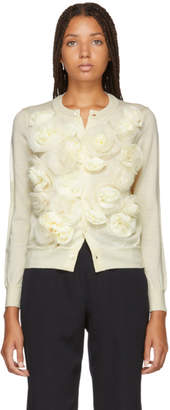 Comme des Garcons White Organdy Flower Cardigan