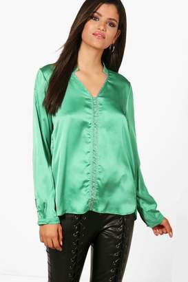 boohoo Isobel Embellished Panel Shirt