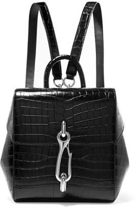 Alexander Wang Hook Mini Croc-effect Leather Backpack - Black