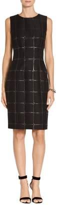 St. John Square Metallic Jacquard Dress
