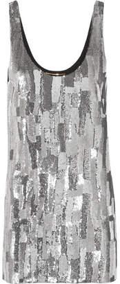Saint Laurent Sequined Silk-georgette Mini Dress - Silver