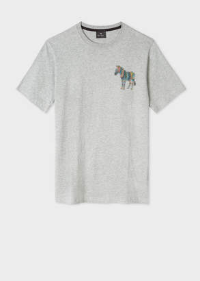 Paul Smith Men's Grey Marl 'Zebra Dot' Print T-Shirt