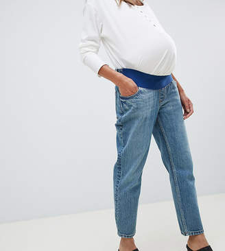 Asos DESIGN Maternity Recycled Florence authentic straight leg jeans in dark stonewash blue with under bump waistband