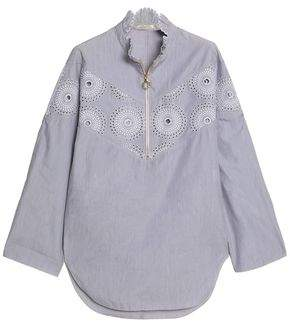 Nina Ricci Broderie Anglaise-Paneled Cotton-Poplin Tunic