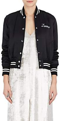 "Amiri Women's ""Lovers"" Silk Satin Baseball Jacket"