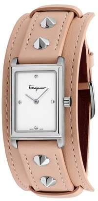 Salvatore Ferragamo Fiore Studs Leather Strap Watch, 34mm