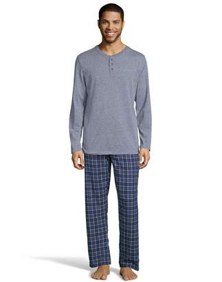 Hanes Mens Henley Crew with Flannel Pant PJ Set (3003B) -Blue Space -3XL