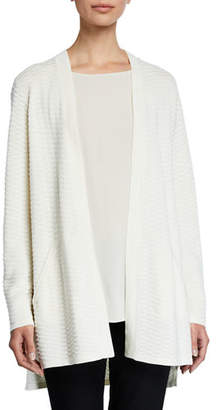 Eileen Fisher Simple Textured Silk/Cotton Cardigan