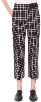 Akris Punto Ford Grid-Jacquard Cotton Cropped Tube Pants