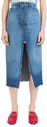 The Kooples Frayed Denim Midi Skirt