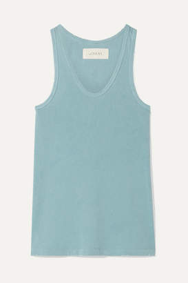The Great The Racer Distressed Cotton-jersey Tank - Turquoise