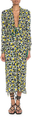 Proenza Schouler Plunging Long-Sleeve Floral-Print Georgette Long Dress w/ Scarf Hem