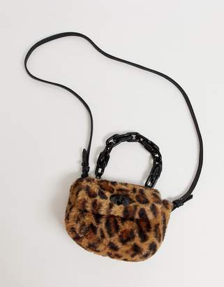 Chateau Faux Leopard Fur with Chunky Shoulder Chain