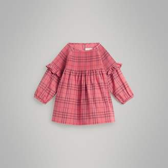 Burberry Ruffle Detail Check Cotton Dress