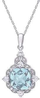 Sonatina 14K White Gold, Aquamarine, White Topaz & Diamond Halo Vintage Pendant Necklace