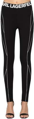 Karl Lagerfeld Logo Stretch Viscose Jersey Leggings