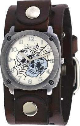 Nemesis #BBB931S Men's Web of Skulls Wide Brown Leather Cuff Band Watch
