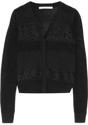 Diane von Furstenberg Corded Lace-Paneled Ribbed And Open-Knit Merino Wool Cardigan