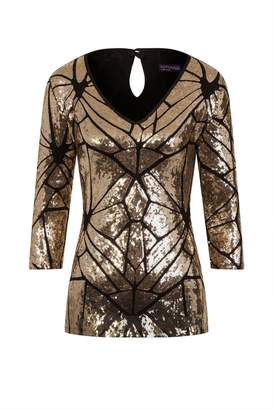 52e23ca86a6 Next Womens HotSquash Gold V-Neck Sequin Top