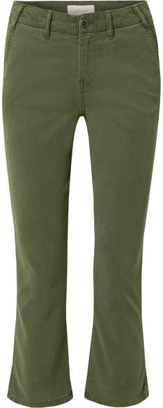 The Trouser Nerd Cropped Flared Twill Pants - Green