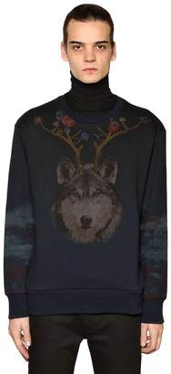 Etro Wolf & Bear Printed Cotton Sweatshirt