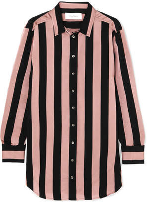 Marques Almeida Marques' Almeida - Embellished Striped Satin-twill Shirt - Pastel pink