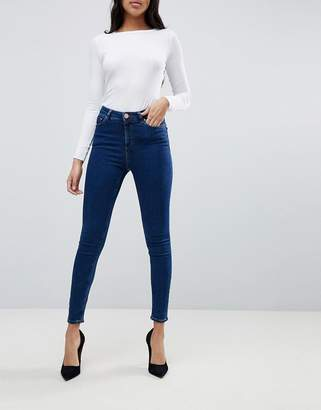 Asos Design DESIGN Ridley high waisted skinny jeans in deep blue wash