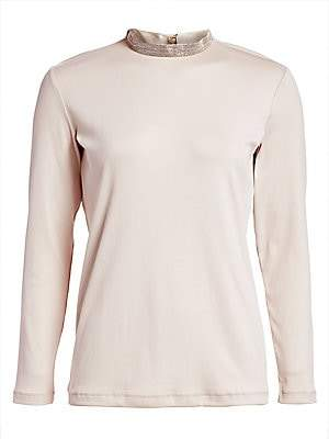 Fabiana Filippi Women's Metallic Trim Long-Sleeve Turtleneck Tee