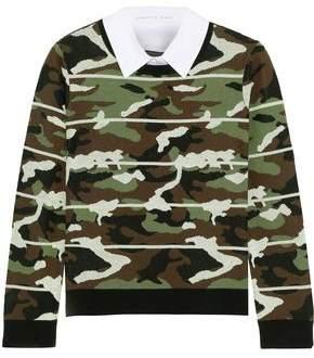 Veronica Beard Alpha Convertible Metallic Cotton-Blend Jacquard Sweater