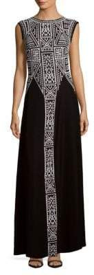Tadashi Shoji Sleeveless Embroidered Floor-Length Gown