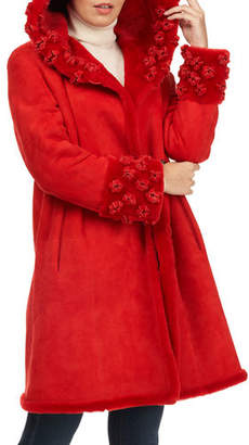 Christia Lamb Shearling Fur Stroller Coat w/ Floral Details